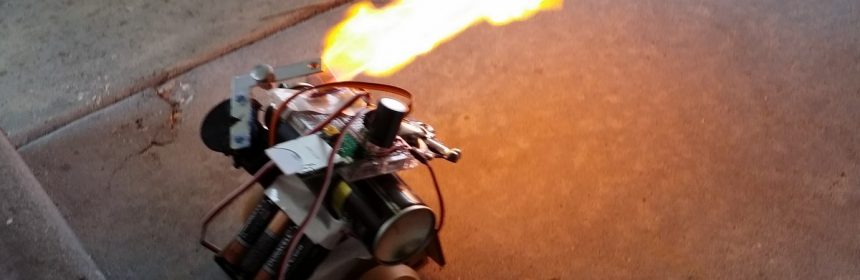 small robot shooting fire
